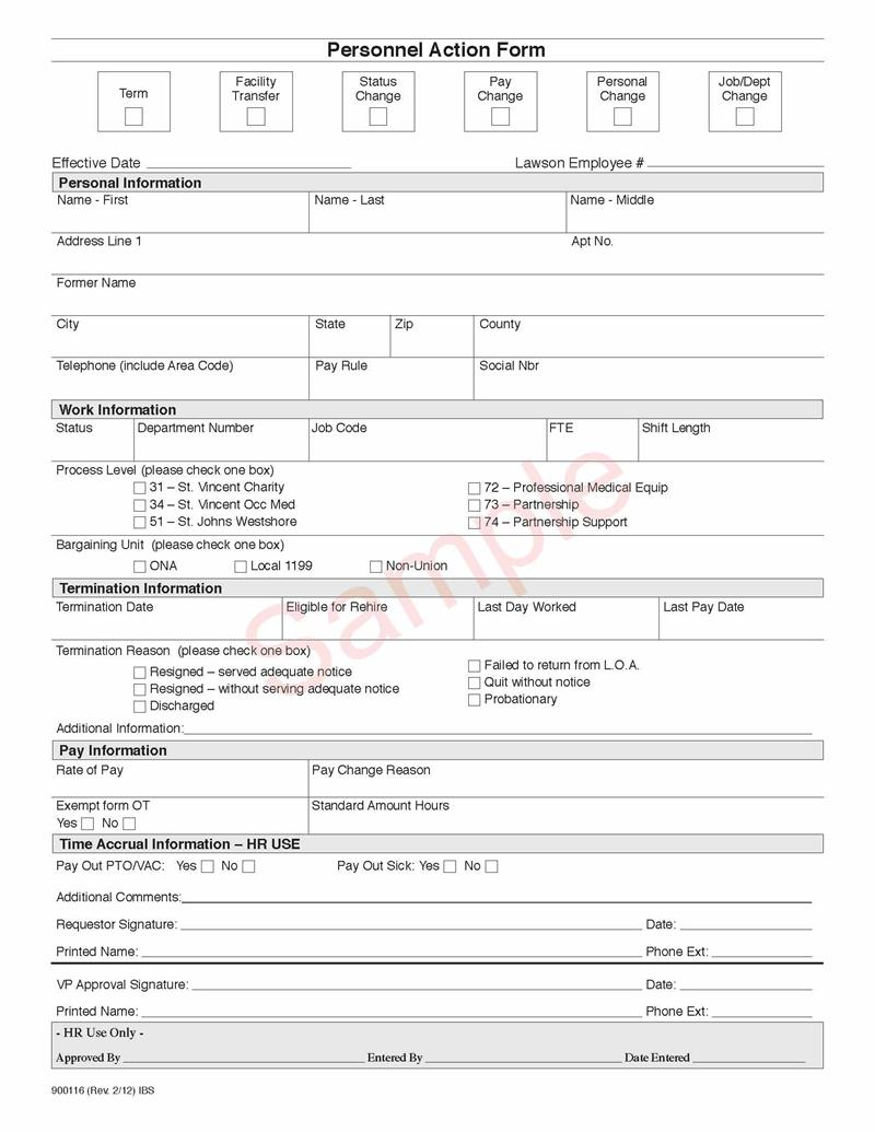 900116 Personnel Action Form